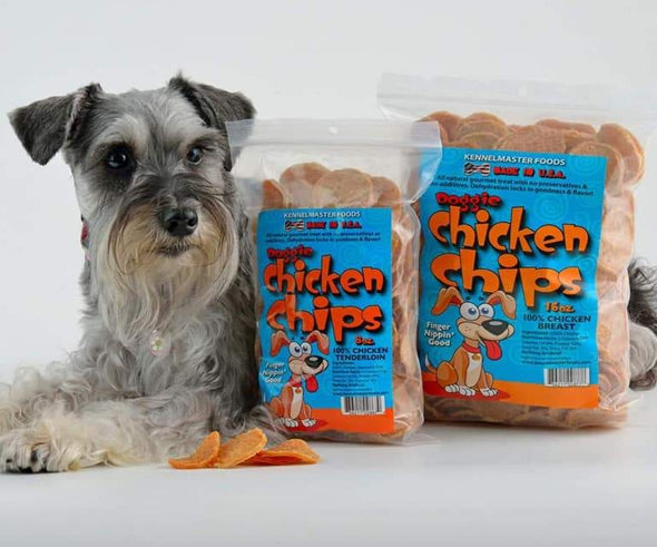 "Chips Natural ""Original"" Doggie Chicken Chips, with dog"