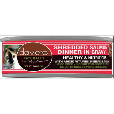 Dave's Naturally Shredded Salmon Dinner in Gravy Canned Cat Food
