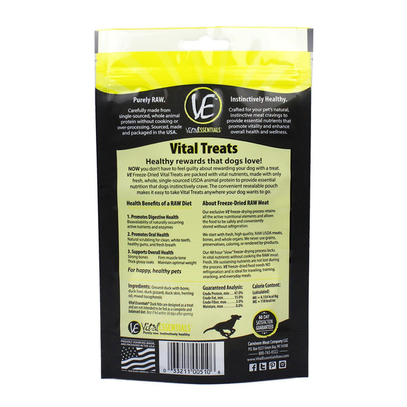 Vital Essentials Duck Nibs Freeze-Dried Treats for Dogs, image of back of product