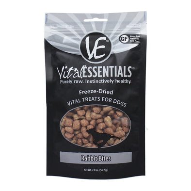 Vital Essentials Rabbit Bites Freeze-Dried Treats for Dogs, front of package