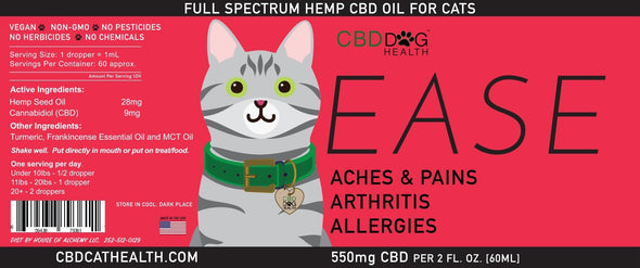 CBD Dog Health EASE Full Spectrum Hemp Extract (CBD) For Cats With Turmeric & Frankincense, label image