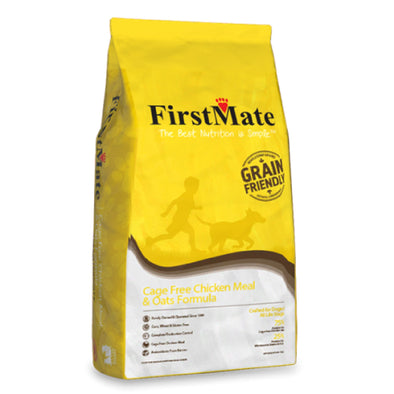 FirstMate's Cage Free Chicken Meal & Oats Formula Dry Dog Food, front of yellow bag