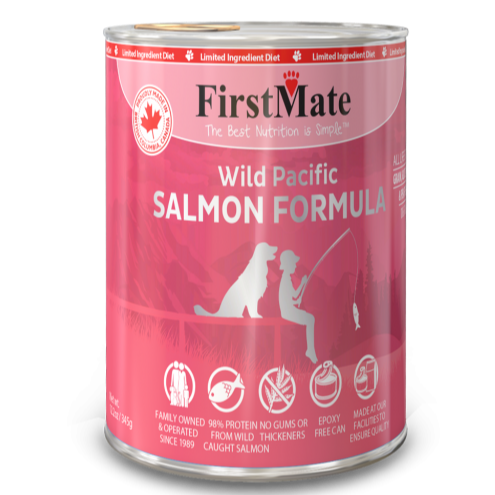 FirstMate's Limited Ingredient Wild Salmon Canned Dog Food, front pink can