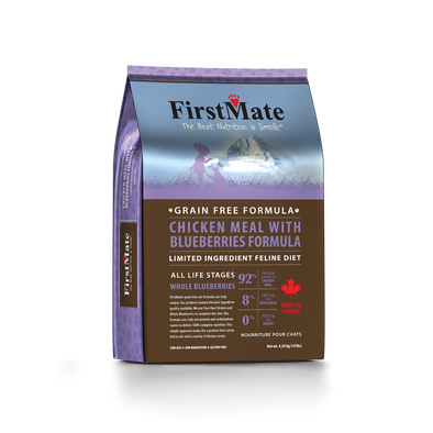 First Mate's Chicken with Blueberries Dry Cat Food, front of 3.96lbbag