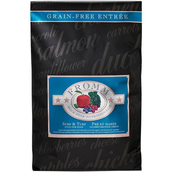 Fromm Four-Star Nutritionals¨ Surf & Turf Recipe Food for Dogs, front of package-black-blue