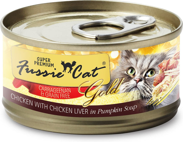 Fussie Cats Chicken & Beef In Pumpkin Soup Canned Cat Food, front of can