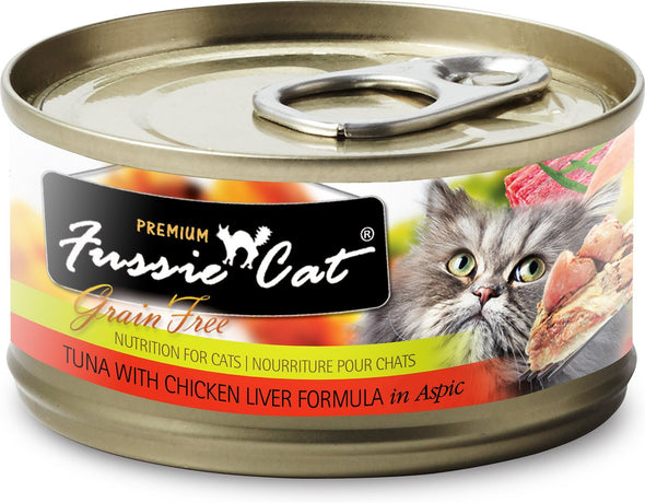 Fussie Cats Tuna With Chicken Liver Formula In Aspic Canned Cat Food, front of can