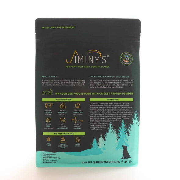 Jiminy's Good Grub Cricket Dog Food, back of 10lb dog food bag