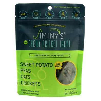 Chewy Cricket Treats for Dogs - Sweet Potato & Peas, front of dog treats bag