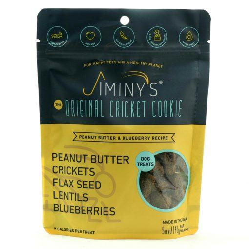 Jiminy's Cricket Cookies Treats for Dogs - Peanut Butter & Blueberry, front of package