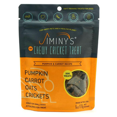 Jiminy's Chewy Cricket Treats for Dogs Pumpkin & Carrot, image of package