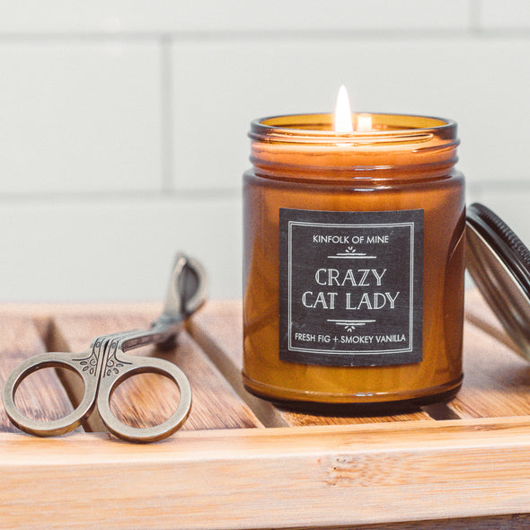 Kinfolk of Mine Crazy Cat Lady Fig Tree & Smoky Vanilla Candle, 9oz glass jar candle