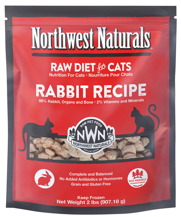 Northwest Naturals Rabbit Freeze-Raw Diet Food For Cats, front red package