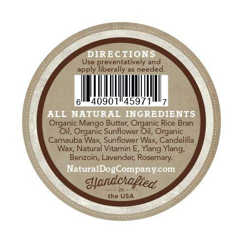 Natural Dog Company's Organic PawTection Balm for Dogs, back of 2oz tin