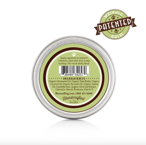 Natural Dog Company's Organic Wrinkle Balm, back of patented product