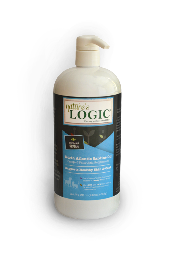 Nature's Logic™ North Atlantic Sardine Oil for Dogs and Cats, front of bottle with pump