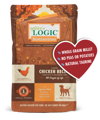 Nature's Logic Distinction Canine Chicken Recipe Dry Dog Food for All Stages, front of package-brown