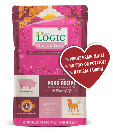 Nature's Logic Distinction Canine Beef Recipe Dry Dog Food for All Stages, front of package-pink