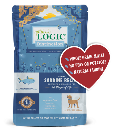 Nature's Logic Distinction Canine Sardine Recipe Dry Dog Food for All Stages, front of package-blue