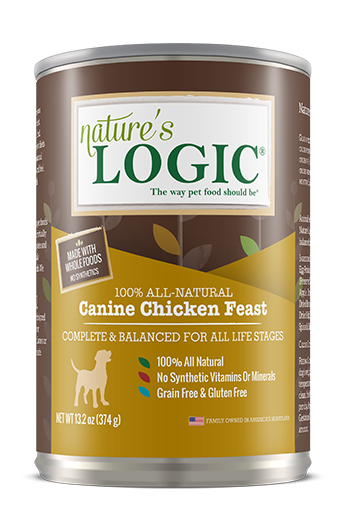 Nature's Logic Distinction Canine Chicken Feast Canned Dog Food for All Stages, front of can