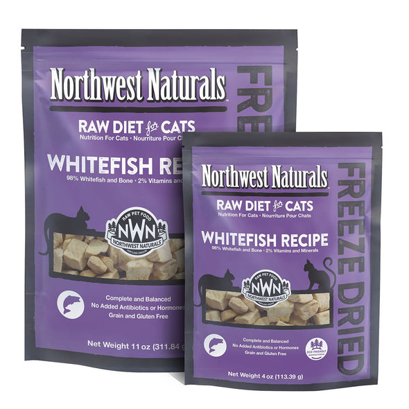 Northwest Naturals Freeze Dried Whitefish Cat Nibbles, back of bag