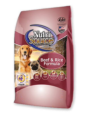 NutriSource¨ Beef and Rice Formula Dry Dog Food, front of package