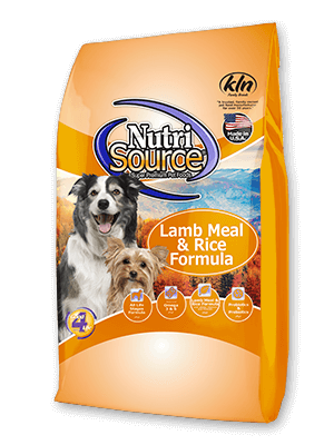NutriSource¨Lamb Meal & Rice Formula Dry Dog Food, front of bag