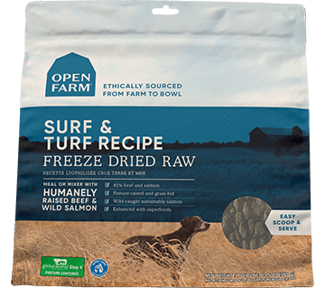 Open Farm Surf & Turf Freeze Dried Raw Dog Food, front of package