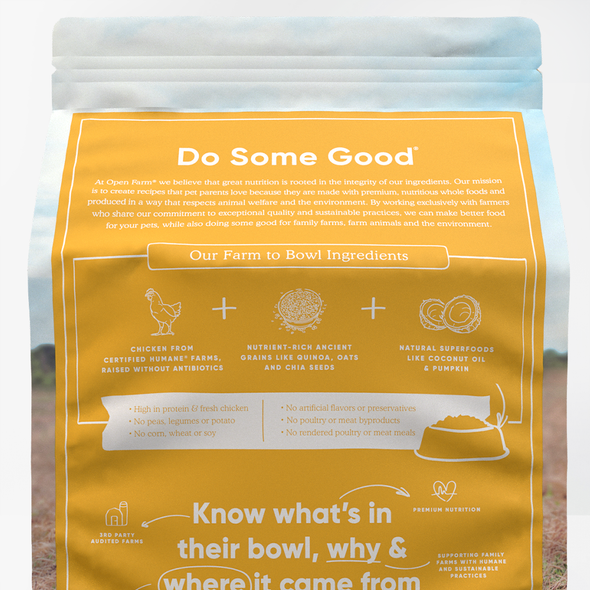 Open Farm Harvest Chicken & Ancient Grains Dry Dog Food, back of package-yellow