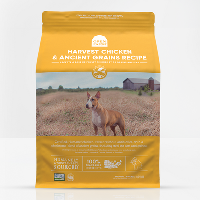 Open Farm Harvest Chicken & Ancient Grains Dry Dog Food, front of package-yellow