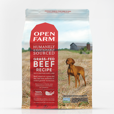 Open Farm Grass-Fed Beef Dry Dog Food, front of bag-red