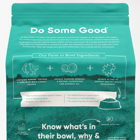 Open Farm Puppy Dry Dog Food, back of package