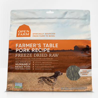 Open Farm Farmer's Table Pork Freeze Dried Raw Dog Food, front