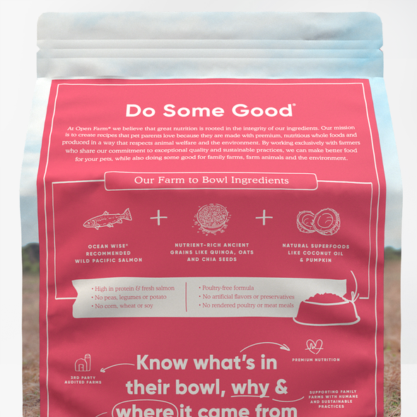 Open Farm Wild-Caught Salmon & Ancient Grains Dry Dog Food, back of package