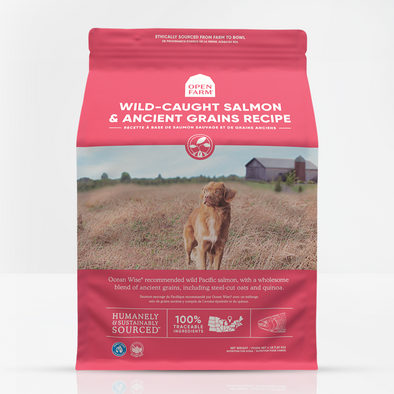 Open Farm Wild-Caught Salmon & Ancient Grains Dry Dog Food, front of package