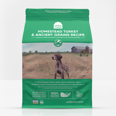 Open Farm Homestead Turkey & Ancient Grains Dry Dog Food, front of package-green