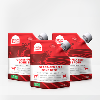 Open Farm Grass-Fed Beef Bone Broth Bundle for Dogs, pouches
