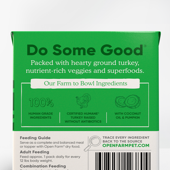 Open Farm Homestead Turkey Rustic Stew for Dogs, back of package