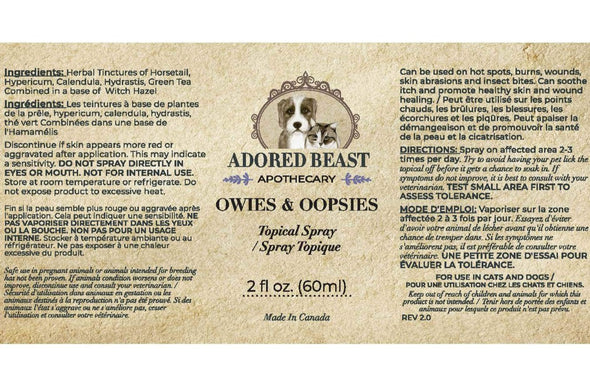 Adored Beast Apothecary Owies & Oopsies Topical Spray for Dogs & Cats, image back