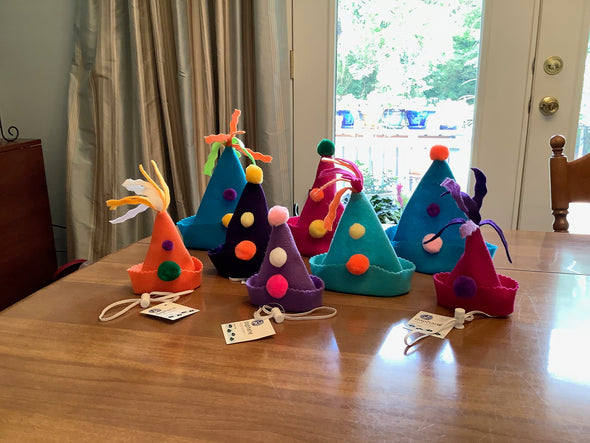 Party Hat - Felt with Pom Poms