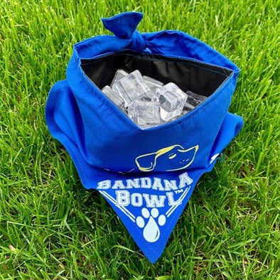 Bandana Bowl™ Portable Bowl for Dogs, open bowl with ice