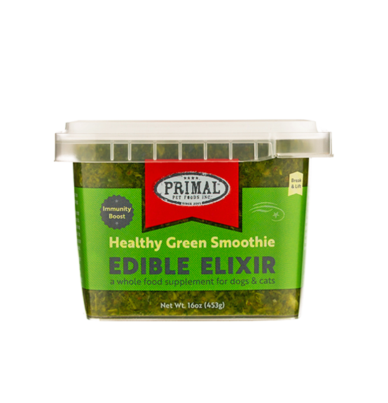 Primal Healthy Green Smoothie Edible Elixirs for Dogs & Cats, front 16oz