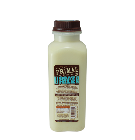Primal's Raw leGoat Milk for Dogs and Cats, 16oz bottle
