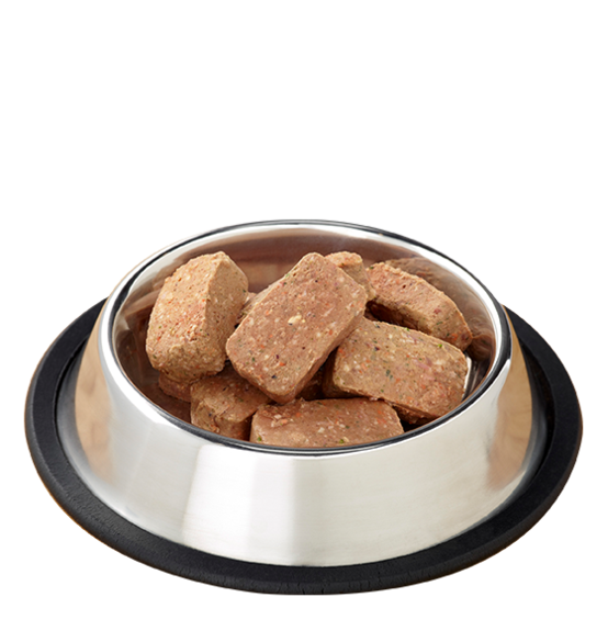 Raw Frozen Feline Duck Nuggets Formula by Primal, food in bowl