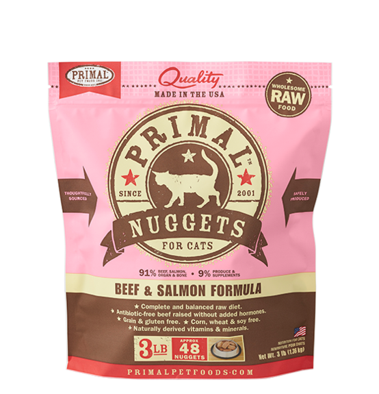 Raw Frozen Feline Beef & Salmon Nuggets Formula by Primal, front pink package