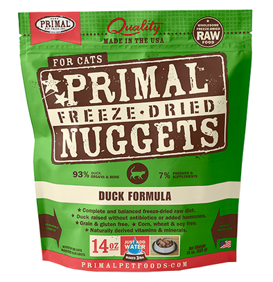 Primal's Raw Freeze-Dried Feline Duck Formula, front