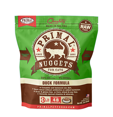 Raw Frozen Feline Duck Nuggets Formula by Primal