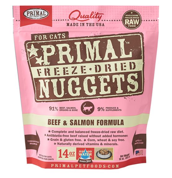 PRIMAL's Raw Freeze-Dried Feline Beef & Salmon Formula, front of package