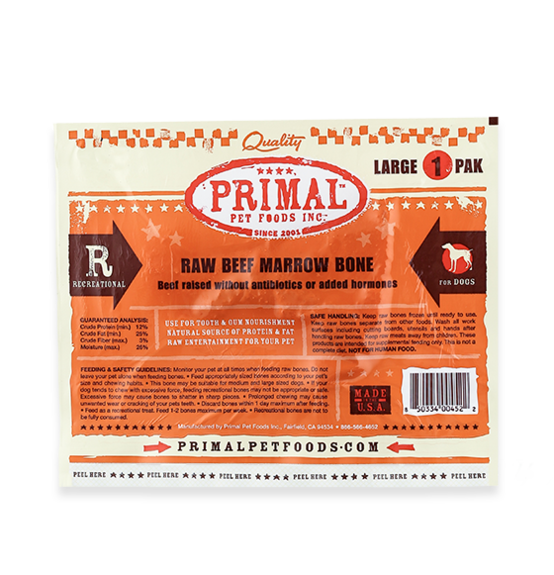 Raw Beef Marrow Recreational Bones for Dogs and Cats, large package