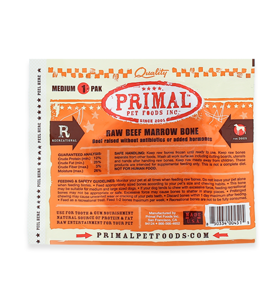 Raw Beef Marrow Recreational Bones for Dogs and Cats, package